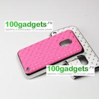 Чехол пластик/металл со стразами для Nokia Lumia 620 Розовый