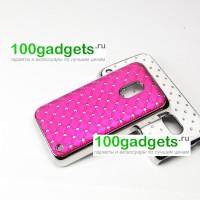 Чехол пластик/металл со стразами для Nokia Lumia 620 Пурпурный