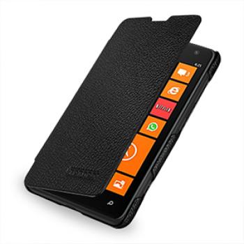 Кожаный чехол книжка горизонтальная (нат. кожа) для Nokia Lumia 625