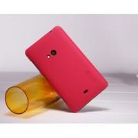 Пластиковый матовый нескользящий премиум чехол для Nokia Lumia 625 Красный