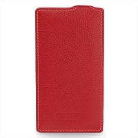 Кожаный чехол книжка вертикальная (нат. кожа) для Nokia Lumia 1320 Красный