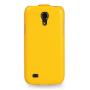 Вертикальная книжка (нат. кожа) для Samsung Galaxy S4 Mini желтая