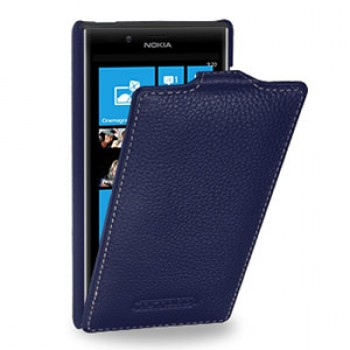 Кожаный чехол книжка вертикальная (нат. кожа) для Nokia Lumia 720 синяя