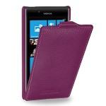 Кожаный чехол книжка вертикальная (нат. кожа) для Nokia Lumia 720 фиолетовая