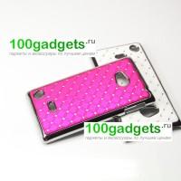 Чехол пластик/металл со стразами для Nokia Lumia 720 Пурпурный