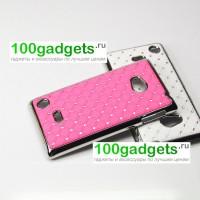Чехол пластик/металл со стразами для Nokia Lumia 720 Розовый