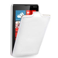 Чехол кожаный книжка вертикальная (нат. кожа) для Nokia Lumia 820 Белый