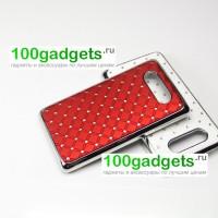 Чехол пластик/металл со стразами для Nokia Lumia 820 Красный