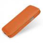 Вертикальная книжка (нат. кожа) для Samsung Galaxy S4 Mini оранжевая