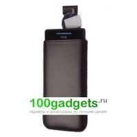 Чехол кожаный мешочек черный для HTC Windows Phone 8S