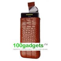 Чехол кожаный мешочек коричневый крокодил для HTC Windows Phone 8S