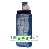 Чехол кожаный мешочек синий крокодил для HTC Windows Phone 8S