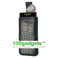 Чехол кожаный мешочек зеленый крокодил для HTC Windows Phone 8S