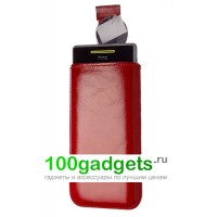 Чехол кожаный мешочек красный для HTC Windows Phone 8S