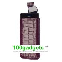 Чехол кожаный мешочек фиолетовый крокодил для HTC Windows Phone 8S