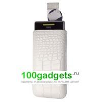 Чехол кожаный мешочек белый крокодил для HTC Windows Phone 8S