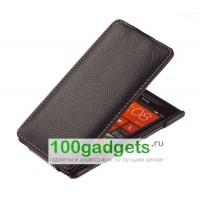 Чехол кожаный книжка вертикальная черная для HTC Windows Phone 8X