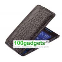 Чехол кожаный книжка вертикальная черная крокодил для HTC Windows Phone 8X