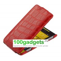 Чехол кожаный книжка вертикальная красная крокодил для HTC Windows Phone 8X