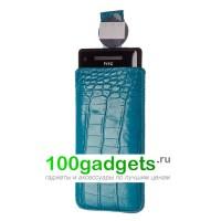Чехол кожаный мешочек голубой крокодил для HTC Windows Phone 8X