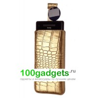 Чехол кожаный мешочек бежевый крокодил для HTC Windows Phone 8X