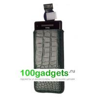Чехол кожаный мешочек зеленый крокодил для HTC Windows Phone 8X