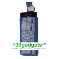 Чехол кожаный мешочек синий крокодил для HTC Windows Phone 8X