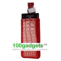 Чехол кожаный мешочек красный крокодил для HTC Windows Phone 8X