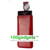 Чехол кожаный мешочек красный ящер для HTC Windows Phone 8X