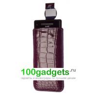 Чехол кожаный мешочек фиолетовый крокодил для HTC Windows Phone 8X