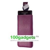 Чехол кожаный мешочек фиолетовый ящер для HTC Windows Phone 8X
