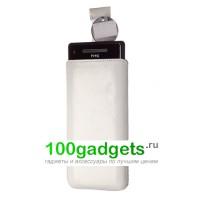 Чехол кожаный мешочек белый для HTC Windows Phone 8X