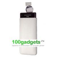 Чехол кожаный мешочек белый ящер для HTC Windows Phone 8X