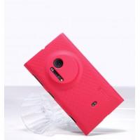 Пластиковый матовый нескользящий премиум чехол для Nokia Lumia 1020 Розовый