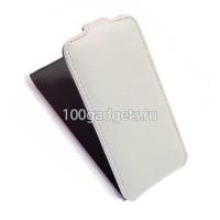 Кожаный чехол книжка вертикальная (нат. кожа) для Samsung Galaxy Ace 3 Белый