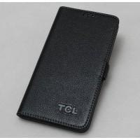 Кожаный чехол портмоне (нат. кожа) для Alcatel One Touch Hero Черный