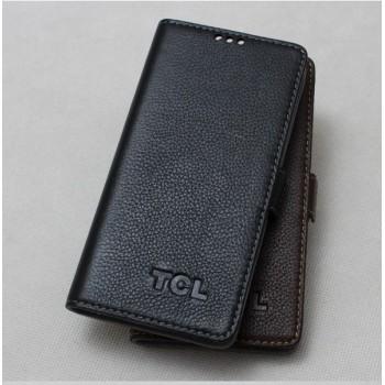 Кожаный чехол портмоне (нат. кожа) для Alcatel One Touch Idol X+