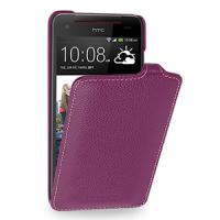 Кожаный чехол книжка вертикальная (нат. кожа) для HTC Butterfly S Фиолетовый