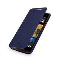 Кожаный чехол книжка горизонтальная (нат. кожа) для HTC Butterfly S Синий