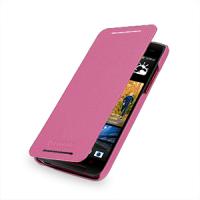 Кожаный чехол книжка горизонтальная (нат. кожа) для HTC Butterfly S Розовый