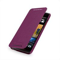 Кожаный чехол книжка горизонтальная (нат. кожа) для HTC Butterfly S Фиолетовый