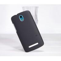 Пластиковый матовый премиум чехол для HTC Desire 500 Черный