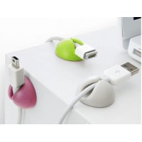 Комплект из 6 разноцветных дизайнерских держателей кабеля на липучей подложке для Sony Xperia E4g (dual, E2053, E2006, E2003, E2043, E2033)
