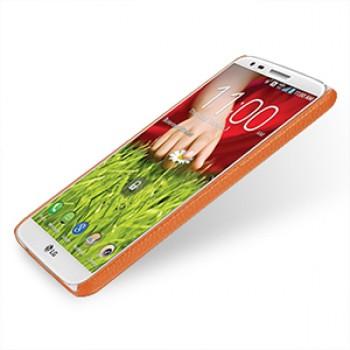 Кожаный чехол накладка Back Cover (нат. кожа) для LG Optimus G2 оранжевая