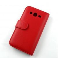 Кожаный чехол книжка горизонтальная портмоне (нат. кожа) для Samsung Galaxy Win GT-I8552 Красный