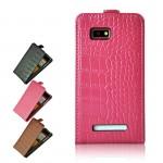 Кожаный чехол книжка вертикальная серия Croco Pattern для HTC Desire 400 Dual SIM