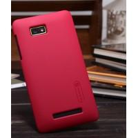 Пластиковый матовый премиум чехол для HTC Desire 400 Dual SIM Красный