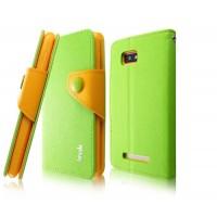 Чехол подставка подставка с застежкой для HTC Desire 400 Dual SIM Зеленый