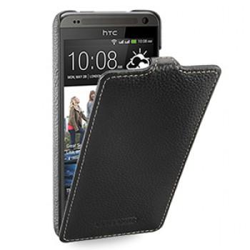 Кожаный чехол книжка вертикальная (нат. кожа) для HTC Desire 700