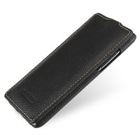 Кожаный чехол книжка вертикальная (нат. кожа) для HTC Desire 700 Черный